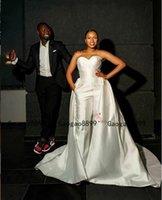 vestidos de fiesta nupciales personalizados al por mayor-2019 africano amor mono de vestidos de novia simples vestidos de novia por encargo con el tren desmontable por encargo vestidos del partido nupcial