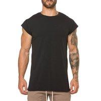 kaslı erkekler tişörtü toptan satış-Yaz Erkekler Tshirt Vücut Geliştirme Fitness Erkek Kısa Kollu Katı Pamuklu Tişört Kas Gevşek Homme Tops Tees