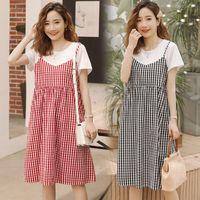 robes de deux pièces en coréen achat en gros de-Robes de maternité 2019 été nouvelle mode coréenne faux deux pièces femmes enceintes robe d'allaitement vêtements de grossesse vestidos