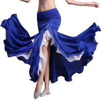 saia da dança do ventre azul real venda por atacado-Dança do Ventre das mulheres Big Swing Chiffon Saia Maxi Saia Dividir Saia Plissado Saias Moda Trajes De Desempenho Do Vestido De Dança Diva
