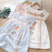 Wholesale boat charms online - multi Colors New girl kids Clothes Elegant dress Round collar Sleeveless Flower Embroidery Ethic Design girl kids dress charming girl dress