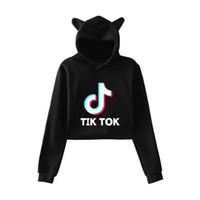jersey kpop al por mayor-Kawaii Harajuku Ropa Kpop BTS Tik Tok Software Tendencia de moda Sala Cat Crop Top Sudaderas con capucha Jerseys Mujeres Sudaderas Streetwear