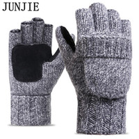 Wholesale knit thick wool mittens for sale - Group buy 2017 Thick Male Fingerless Gloves Men Wool Winter Warm Exposed Finger Mittens Knitted Warm Flip Half Finger Gloves High Quality