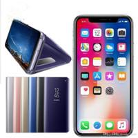 flip cover schlaf großhandel-Halter telefon case galvanisieren klar smart ständer spiegel ansicht flip abdeckung schlaf wake für iphone 6 7 8 x samsung s7 s8 s9 plus note8 dhl