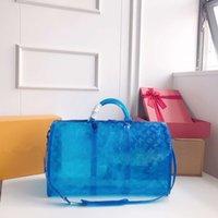 mavi toptan toptan satış-Şeffaf mektup çanta mavi seyahat bagaj çantası kadın kılıf çanta spor çantası yaz plaj spor moda çanta FFA2165