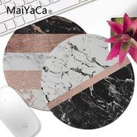 bloco de borracha preta venda por atacado-MaiYaCa Preto mármore branco ouro rosa cor do bloco Stripes Pattern redonda pequena Mouse pad PC mat Computer Rubber Gaming Mouse Pad