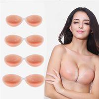 tamanho de sarga de silicone venda por atacado-1 par de mulheres sexy sutiã invisível auto-adesivo sem alças de silicone prótese de mama tamanho bra tamanho a b c d