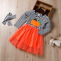 детские юбки оптовых-Взрыв моделей 2019 детская одежда девочек осень новый с длинными рукавами Хэллоуин полосатый принцесса пышная юбка + волосы группа 2 комплекта P017