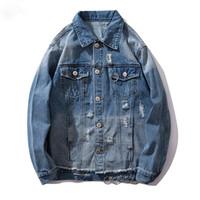 ringe cowboys großhandel-Jeansjacke Männer Ring Cowboy Männer Jacke Tasche Lässig High Street Mode Hip Hop Outwear Männer Mantel Streetwear YUU76