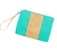Wholesale turquoise bags for sale - Group buy Patchwork Turquoise Canvas Wristlet Clutch Blanks Middle Gold PU Day Clutches Join Work Coin Purse DOM106clutch