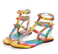 Wholesale roman wedding sandals for sale - Group buy Size rainbow color gladiator sandals womens designer brand rivets flip flops T strap sandals ankle belt Roman shoes