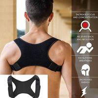 soporte trasero de neopreno ajustable al por mayor-Cinturón de postura de neopreno 2019 Terapia ajustable Corrector de postura Soporte de clavícula Cinturón de hombro para espalda