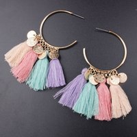 Wholesale threading earrings resale online - 2019 handmade ethnic bohemian thread tassel earrings vintage Jewelry for woman and girls colors C6028