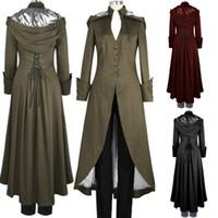 traje de mujer victoriana al por mayor-Mujeres Steampunk Vintage Maxi Trench Victorian Costume Negro Largo Slim Fit Abrigo con capucha para Lady 4XL Plus Size