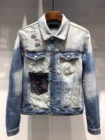 chaqueta vaquera europea al por mayor-L922 talla de hombre de Asia 2019 de lujo de diseño de ropa Patch decoración del bolsillo de la chaqueta de dril de algodón americano europeo para hombre de la chaqueta del dril de impresión de la letra