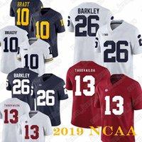 camisetas de tom al por mayor-NCAA 26 camisetas de Saquon Barkley 13 camiseta de Tua Tagovailoa 10 camiseta de Tom Brady Camiseta de Michigan Wolverines
