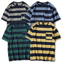 bolso da camisa amarela venda por atacado-Homens Listrado Camiseta Hip Hop 2019 Harajuku Camiseta Streetwear Verão de Manga Curta T-Shirt Bolso de Algodão Tops Tee Verde Azul Amarelo