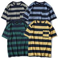 gelbe taschentasche großhandel-Männer Gestreiftes T-shirt Hip Hop 2019 Harajuku T-shirt Streetwear Sommer Kurzarm T-Shirt Tasche Baumwolle Tops T Grün Blau Gelb