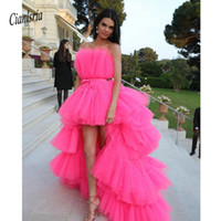 einzigartiges fuchsia high low prom dress großhandel-2019 New High Low Prom Kleider mit abnehmbarem Zug Unique Tiered Tüllrock Abendkleid Pink Fuchsia Formal Party Kleider