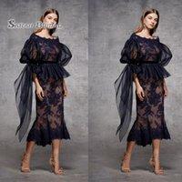 özel yapılmış çay elbisesi siyah toptan satış-2020 Kılıf Siyah Çay Boyu Abiye Yarım Kollu Custom Made Gelinlik Örgün Parti Dantel Katmanlı Etek Wear