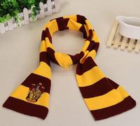escala de caracteres al por mayor-2019 trajes de estilo occidental Colegio bufandas 4 estilos Harry Potter Gryffindor serie bufandas con insignia Cosplay Knit películas bufandas