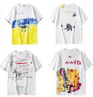 algodón hombre estilo de pinturas al por mayor-Nuevo estilo Classic VETEMENTS POP Pintura graffiti Mujeres Hombres Camisetas Hip hop Skateboard Marca Hombres Camiseta de algodón Blanco para el verano