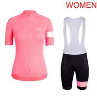 team road ciclismo camisetas mujeres al por mayor-2019 pro team Rapha Women Classic Summer Cycling Jersey ciclismo camisa babero conjunto transpirable ropa de bicicleta de carretera bicicleta uniforme Y080501