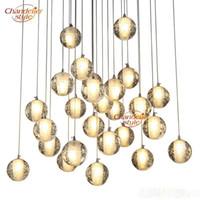 LED Crystal Glass Ball Pendant lamps Meteor Rain Ceiling Light Meteoric Shower Stair Bar Droplight Chandelier Lighting