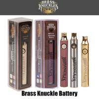 ingrosso cartuccia calda-Penna batteria sigaretta elettronica regolabile in ottone a tensione variabile 650mAh oro 900mAh Vape Knuckles Vape per cartuccia olio spessa 510 fili