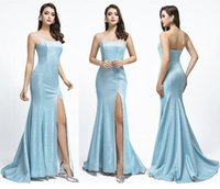 Wholesale strapless gradient prom dress for sale - Group buy 2019 light sky blue Gradient Sparkly Reflective mermaid prom Dresses yousef aljasmi sexy split strapless african arabic evening Formal Gowns