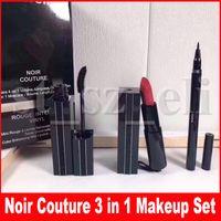 rimel delineador de ojos al por mayor-Famoso set de maquillaje Noir Couture Rouge Interdit Vinyl Eyeliner Eye Liner Pencil Mascara Matte Lipstick 3 en 1 juego
