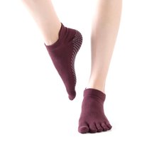 Wholesale socks grips resale online - 1 Pair Five Fingers Breathable Non Slip Sports Dance Women Yoga Socks Soft Cotton Fitness Gym Solid Exercise Outdoor Ankle Grip
