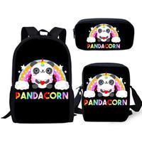 Wholesale cute knapsack bags resale online - School Bag set Students Cute Panda Unicorn Backpack For Boys Girls Children Bookbag Baby Cartoon Rucksack Knapsack Dropship