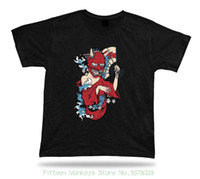 ingrosso maschere di cartone animato giapponese-Print T Shirt Men Japanese Dancer Devil Demon Mask Tshirt Design elegante regalo di cartone animato
