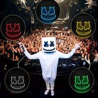 máscara de bricolaje al por mayor-DJ Marshmallow Cosplay Máscara LED Luminoso 8 colores Máscaras Casco DIY EVA Props Fiesta de Halloween Marshmello