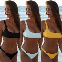 bikinis-ring großhandel-Frauen Zweiteiler Outfits Neue Sommer Explosion Dame Split Designer Badeanzug Metall Ring Reine Farbe Sexy Atmosphäre Sammeln Bikini