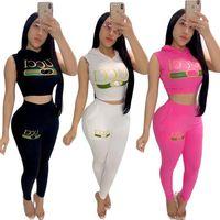 Wholesale sleeveless pants shirt for sale - Group buy Summer Women Sleeveless Brand Tracksuit Guc Print Crop Tops Vest T shirt Pants Designer Two Piece Set Leggings Outfits Jogger Suit C61207