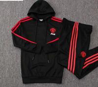 Wholesale black children tracksuits resale online - 18 kids United kids Hoodies black red boys tracksuits LINGARD sportswear POGBA child long sleeve Man training suits