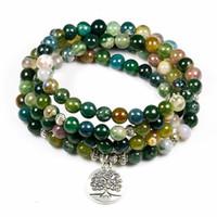 encantos de buda indio al por mayor-Moda para mujer Indian Onyx 108 Mala Beads Pulsera Multi-capa de alta calidad Lotus Charm Nuevo diseño Yoga Pulsera para hombres Buda