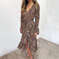 vestido de cebra de las mujeres al por mayor-Vestidos largos de verano 2019 Mujeres Zebra Print Beach gasa vestido Casual manga larga con cuello en V volantes vestido de fiesta elegante Vestidos