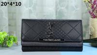kabartmalı debriyaj toptan satış-Yeni uzun debriyaj çanta ΥSL moda vahşi kabartmalı kafes bayanlar cüzdan büyük kapasiteli çoklu kart kart paketi gelgit # 3015