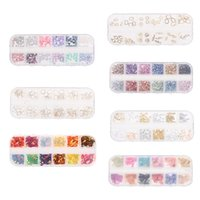 ingrosso mescolare perline di rame-12 Griglie Mix Nail Nail Punk Mermaid Bead Caviar Copper Beads 3D Nail Art Decorazioni