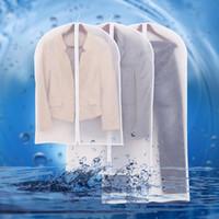 almacenamiento de abrigo al por mayor-Cysincos Bolsa de abrigo transparente Ropa Prenda Traje Bolsas de cubierta A prueba de polvo Almacenaje de la suspensión Organizador de viaje Armario Almacenamiento de ropa