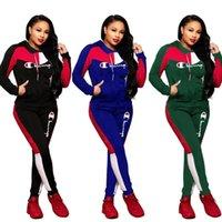 baseball tracksuit 도매-여성 챔피언스 편지 운동복 긴 소매 지퍼 재킷 스웨터 + 바지 레깅스 2 피스 정장 브랜드 코트 의상 야구 의류 (765)
