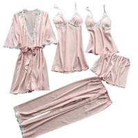 iç çamaşırı dropshipping toptan satış-2019 Yeni Kadın Seksi Dantel Lingerie Gecelik İç Babydoll Pijama Elbise 5 ADET Suit Moda Yüksek Kalite Hediye Dropshipping