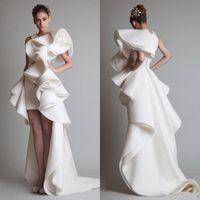 fabulosos vestidos curtos venda por atacado-Super Fabuloso Krikor Jabotian Luxo Ruffles Alta Baixa Seda Como Cetim Vestidos de Noite Com Zíper de Volta Tribunal Trem 2019 Custom Made Mulheres Vestidos