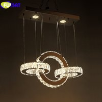 Wholesale modern style rings for sale - Group buy FUMAT Crystal K9 Stainess Stainless Steel Ring Square Pendant Lamp LED Contracted Modern Style Restaurant Hanging Light Fixture