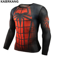 Wholesale rash guard tops resale online - men Fashion T shirt Long Sleeve Rash Guard Complete Graphic Compression T shirt Multi use Bodybuilding MMA Tops Shirts