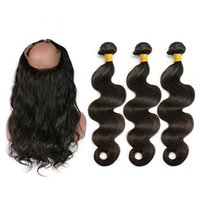 Wholesale 360 Lace Frontal With Bundles Body Wave Brazilian Remy Human Hair Lace Frontal