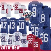 camisolas venda por atacado-26 Saquon Barkley Nova Iorque 8 Daniel Jones Giants Jersey 87 Esterlina Shepard 10 Eli Manning 56 Lawrence Taylor 88 Jerseys Evan Engram